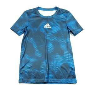 Adidas boys blue black short sleeve t shirt medium